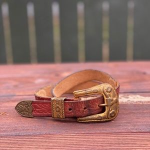 Vintage Tooled Leather Hammered Metal Bull Belt